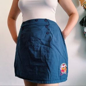 vintage captain pooh embroidered navy zip skirt